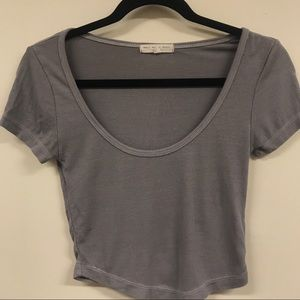 Urban Outfitters grey cropped ribbed tee